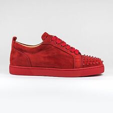 Auth Christian Louboutin Louis Junior Spikes Suede Rougissime Sneakers - BNIB
