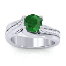 Green Emerald FG SI Gemstone Diamonds Engagement Ring Women 14K Gold