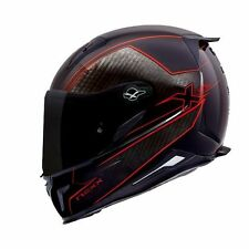 """NEXX X.R2 """"Carbon Pure"""" Red Motorcycle Helmet (Large)"""