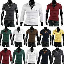 Stylish Men Slim Fit POLO Shirt Short / Long Sleeve Casual T-Shirt Blouse Tops