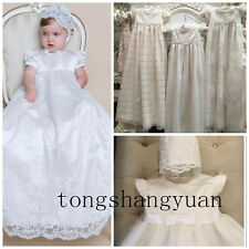 2017 Baby Baptism Dresses Lace Applique White Ivory Kid Infant Christening Gown