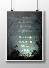 Harry Potter Print - Dumbledore Quote 'Turn on the light' Motivation Art Poster