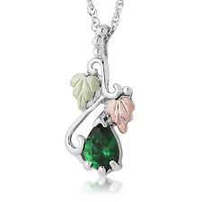 Black Hills Gold birthstone pendant womens .925 silver necklace synthetic stone