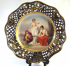 Antique C.Teichert Meissen Hand Painted Porcelain Cabinet Plate The Three Fates