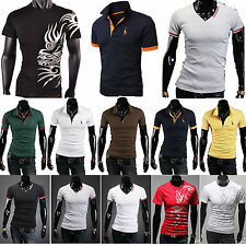 Mens Stylish Casual Slim-Fit Short Sleeves Polo T-Shirts Tee Summer Layer Tops