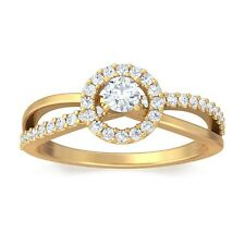 0.27ct FG SI Natural Round Diamond Engagement Womens Ring 14K Yellow Gold