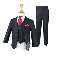 Boys Dark Grey Suit in 3 or 5 PC, Boys Grey Suit Pageboy Wedding Suits for Boy