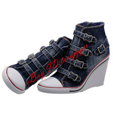 Womens Denim Buckle Strap Ankle Boots Retro High Wedge Heel Sneakers Cool Shoes#