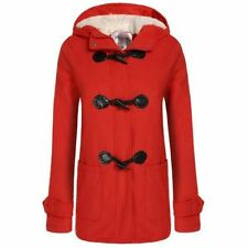 Womens Ladies Casual Hooded Coat Button Zip Wool Blend Fall Winter Spring, Red M