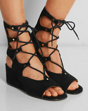 Womens Retro Roma Wedge heel Gladiator Open Toe Lace Up Suede Pumps Shoes Sandal