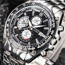 Mens Fashion Military Stainless Steel Date Sport Analog Quartz Dress Wrist Watch