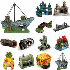 Bridge Tree Castle Fish Tank Aquarium Landscaping Underwater Cave Ornament Decor