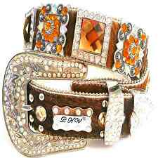 Western Cowgirl Rhinestone Bronze Tint Brown Hair on Hide Leather Belt Lt Ed lot
