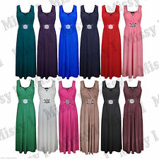 Womens Sleeveless Front Buckle Tie Back Maxi Dress Ladies Cocktail Dress 8-26