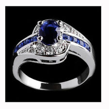 Women Blue Sapphire White Gold plated Engagement Ring Rings Jewelry  Size 7 8 9
