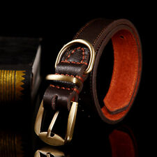 Leather Dog Collar Copper Buckle Adjustable Neck Strap for Large Medium Pet Dog