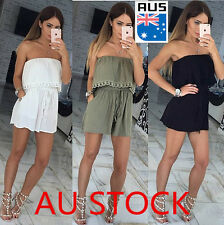 AU Women Holiday Casual Off Shoulder Mini Playsuit Jumpsuit Summer Beach Dress