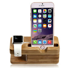 Natural Bamboo Wood New Charger Dock Stand Holder For Apple Watch & Apple iPhone