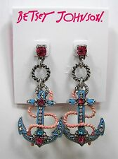 Betsey Johnson Anchors Away Pink Crystal Blue Anchor Silver Tone Drop Earrings