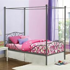 Metal Bed Frame with canopy Twin Girls Childrens Kids Headboard Footboard NEW