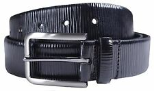 New Mens Zebra Effect 35mm Wide Genuine Leather Loop Pin Buckle Belts S-3XL