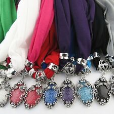 Winter Women Scarves Charms Water Drop Pendant Scarf Jewelry Necklace Scarfs