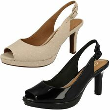 LADIES CLARKS LEATHER PEEP TOE BUCKLE WIDE SMART SLINGBACK SANDALS MAYRA BLOSSOM