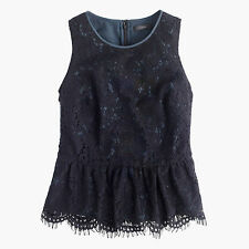 NWT - J.CREW - Lace Peplum Top - size 0 or 6 (Black) $88