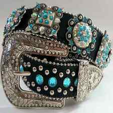 Western Cowgirl Rhinestone Studded Aqua Blue Crystal Black Leather Belt Lt E lot