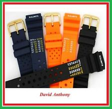 20mm ND TIME, N.D. LIMITS DIVERS WATCH STRAP. POLYURETHANE RUBBER.GOLD BUCKLE