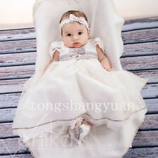 Baby Baptism Gowns Lace Applique Infant Christening Dresses White Ivory Bow-Knot