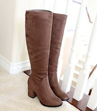 Suede  3.25 in. Covered Thick Chunky Heel  Knee High Boots Taupe