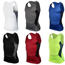 Mens Sports Compression Under Base Layers Top Tight Sleeveless Skin T Shirts Top
