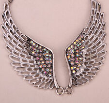 Angel wings choker necklace women biker jewelry gifts ZN01 antique silver CN