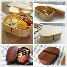 Rectangular Wooden Lunch Box Bento Boxes Food Sushi Container w/ 3 Compartments