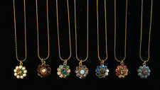 Michal Negrin Tiny Flower Necklace CHOOSE YOUR COLOR Swarovski Crystal Pendant