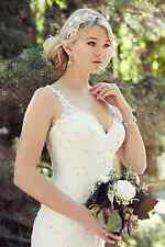 Stock New Long Wedding Dresses White or Ivory Mermaid Gown Size 6 8 10 12 14 16+