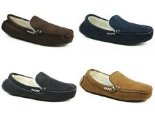 MENS LONDON SHOE COMPANY FAUX SUEDE COMFY MOCCASIN SLIPPERS SHOES SIZE 6 - 11