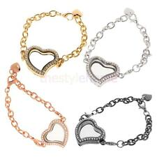 Women Crystal Rhinestone Love Heart Chain Bracelet Bangle Jewelry