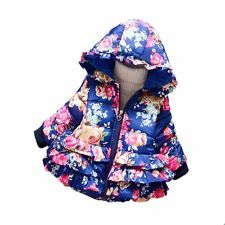 Baby Toddler Girls Spring Winter New Floral Printed Hooded Coat Outerwear Jacket