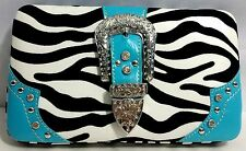 Blu Zebra Western Cowgirl Rhinestone Purse Pouch Handbag Clutch Shoulder Bag lot