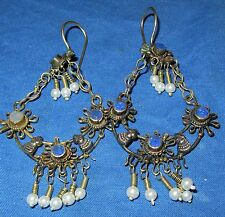 Earrings Dangles Afghan Kuchi Tribal Alpaca Silver 1 1/2""