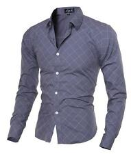 Mens Shirts Slim Plaid Fit Sleeve Long T Shirts Dress Formal Casual Shirts Tops