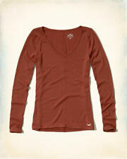 New Hollister  Abercrombie LONG SLEEVE TOP M medium ladies V-neck AUTHENTIC