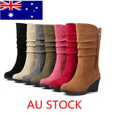 AU 7 Colors Classic Womens Suede Mid-Calf Wedge Casual Suede Boots Zipper Shoes