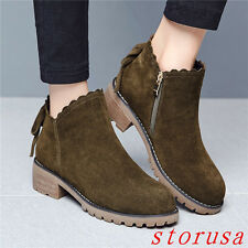 Retro Women Square Heel Ankle Boots Shoes Suede Fashion Casual Boots New Hot