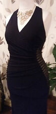 LIPSY 10 OR 12 BLACK NUDE SEQUIN MESH STRETCH HALTERNECK MAXI DRESS BNWT RRP £75
