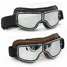 PU Leather Vintage Scooter Goggles Pilot Ski Sunglasses Harley Classic Retro