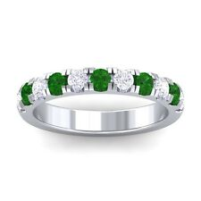 Green Emerald FG SI Diamonds Half Eternity Wedding Band Women 14K White Gold