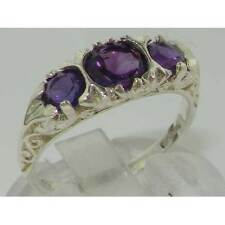 VINTAGE style Solid 10ct White Gold Natural Amethyst Trilogy Ring